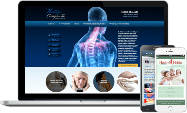 medical website and mobile website example on laptop and iphone