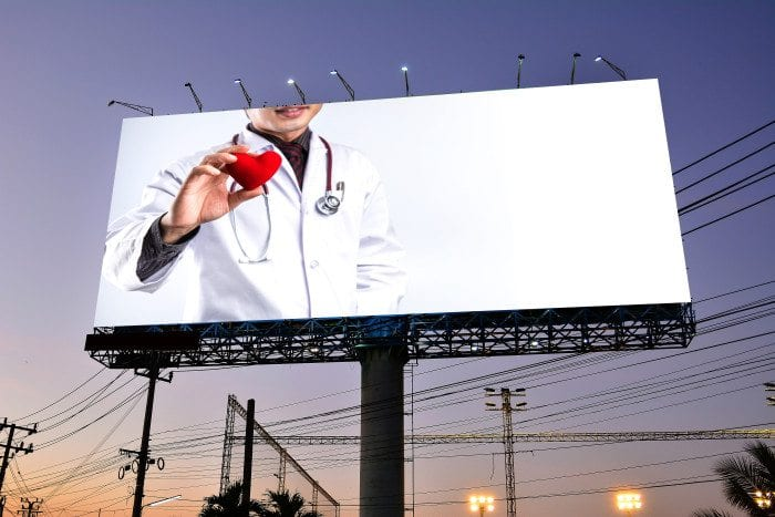 A dental website on a billboard