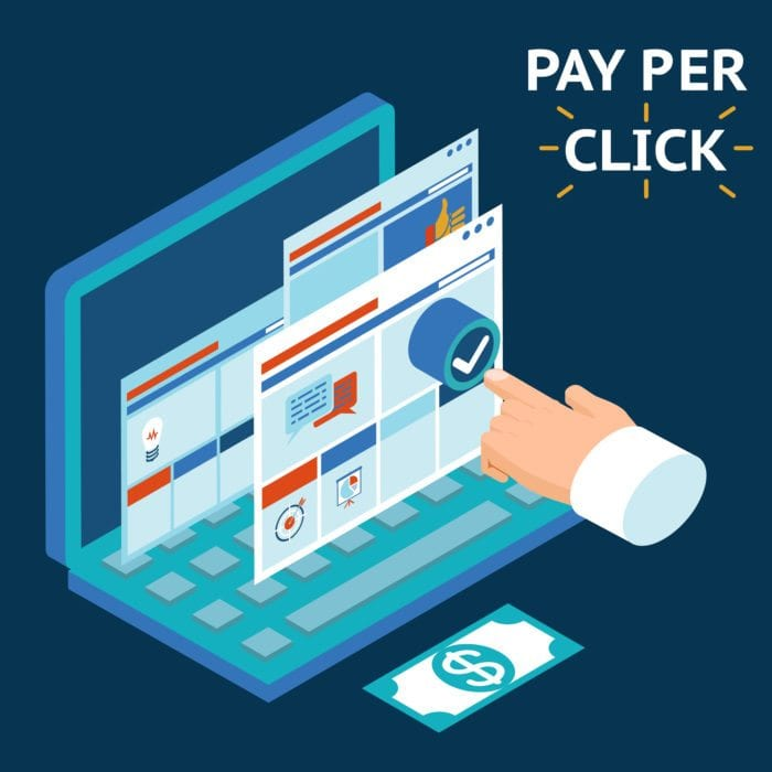 Hand Clicking on a computer to show Pay Per Click