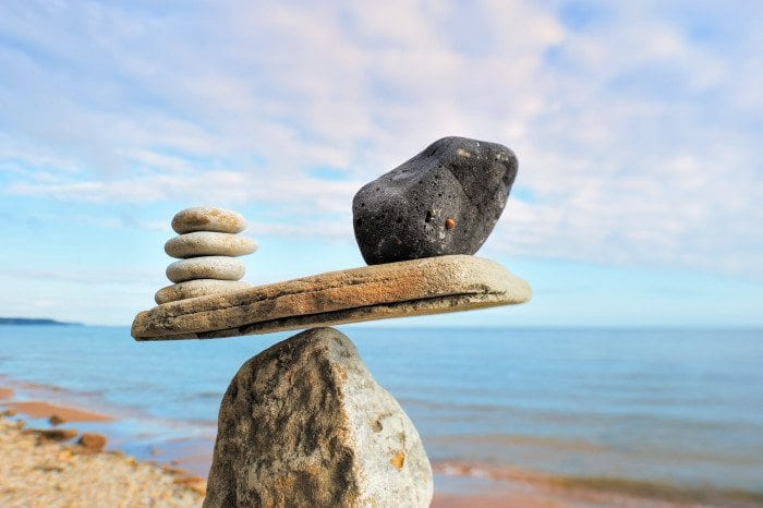Balance on a rock.