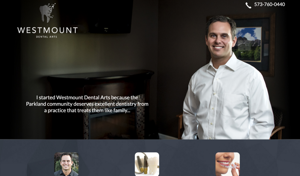 Example of a Dark Background Dental Website.