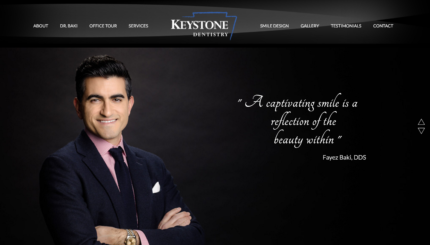 Example of a Dark Background Website with a man posing