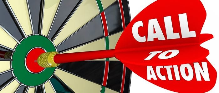 Dart in a dart board that says call to action