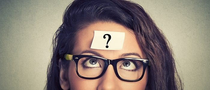 A woman wearing glasses with a question mark on her head, for what is social media