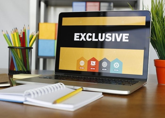 "Computer screen showing ""exclusive"""