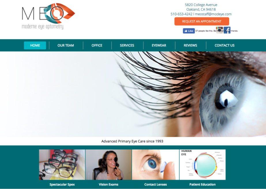 modern eye optometry website