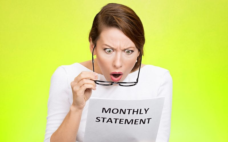 Woman shocked at the high monthly statement