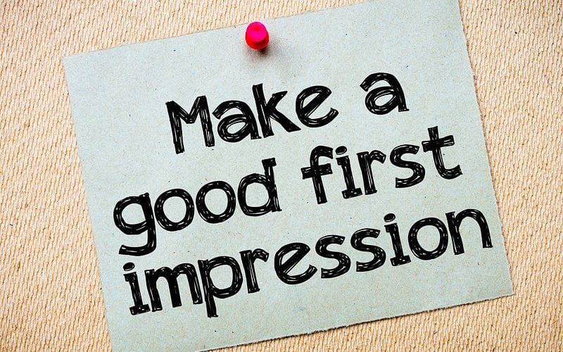 """Note saying """"Make a good first impression"""""""
