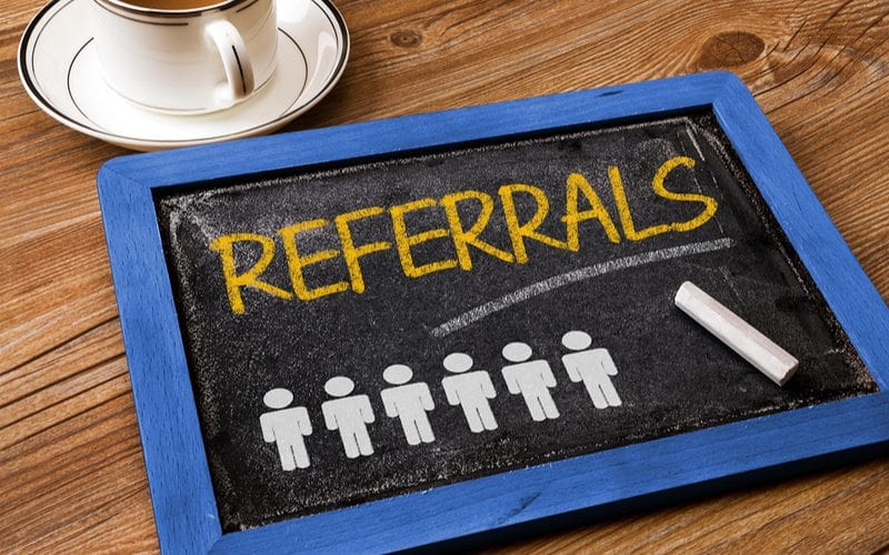 Chalk board that shows referrals