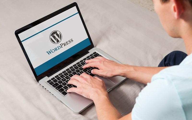 Guy typing on computer that says WordPress