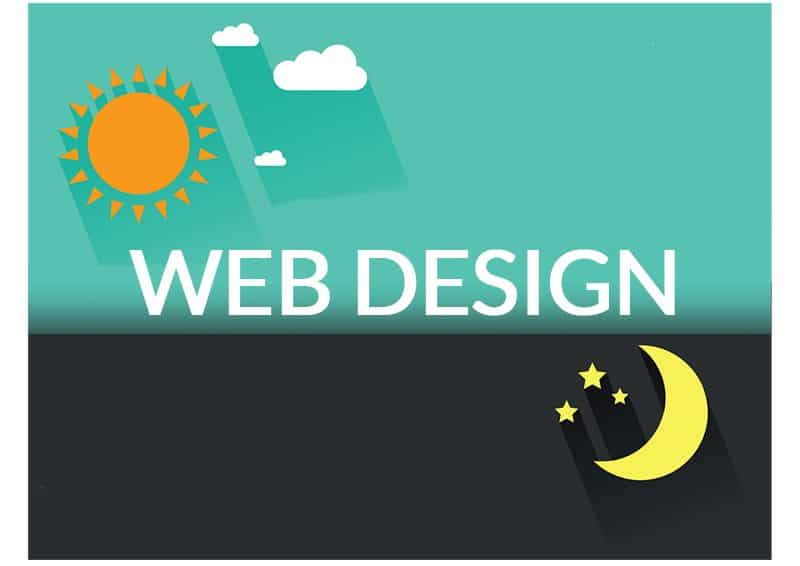 Image of Sun over Moon with Web Design Text