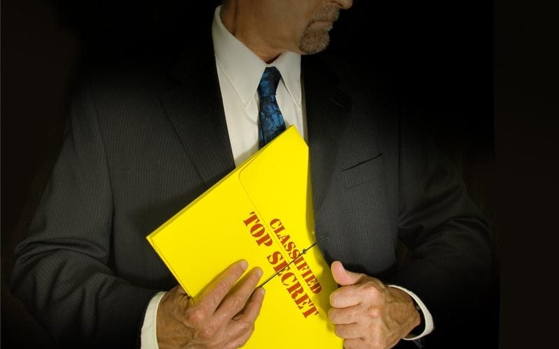 Business Man holding a top secret folder