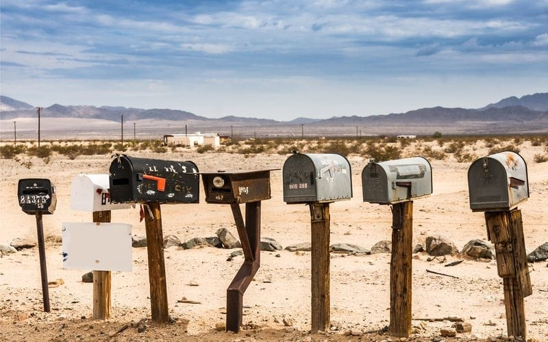 Mail box in a deserted area