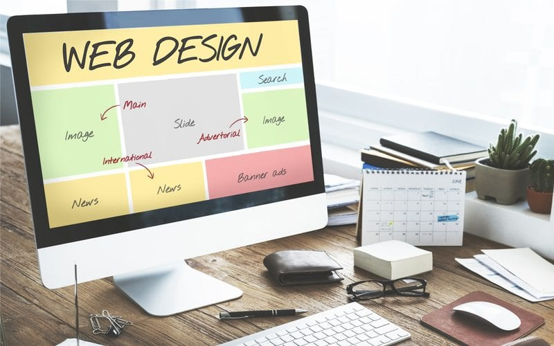 Web design layout displayed on computer screen