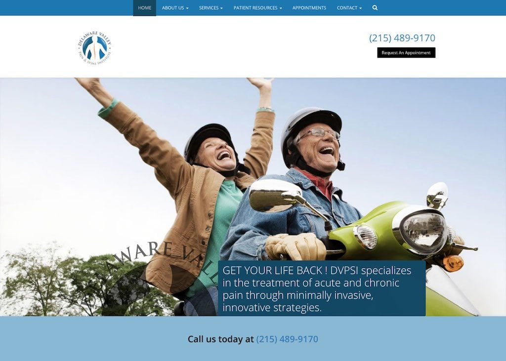 Delaware Valley Pain and Spine Institute Website