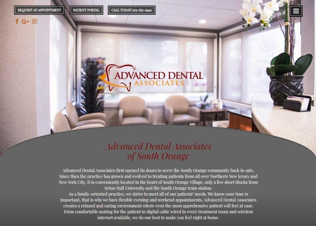 dentistsouthorange.com screenshot showing homepage of website of Advanced Dental Associates of South Orange South Orange, NJ