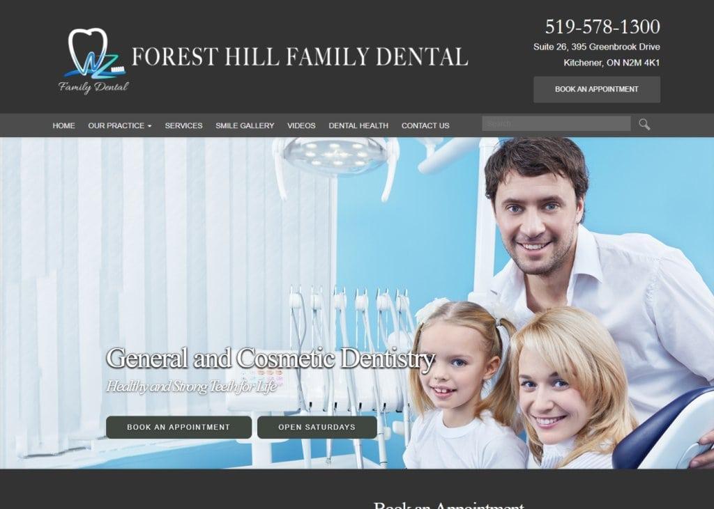 foresthillfamilydental.com Screenshot showing website Forest Hill Family Dental - Kitchener, ON