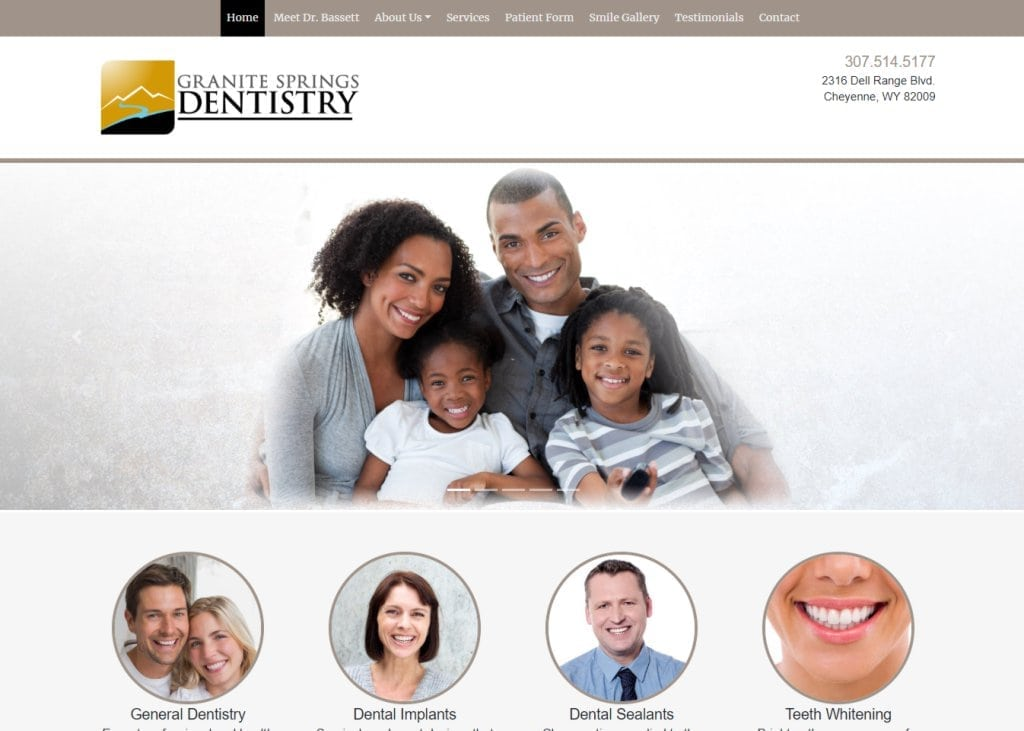 Screenshot showing homepage of Granite Springs Dentistry - Cheyenne, WY website