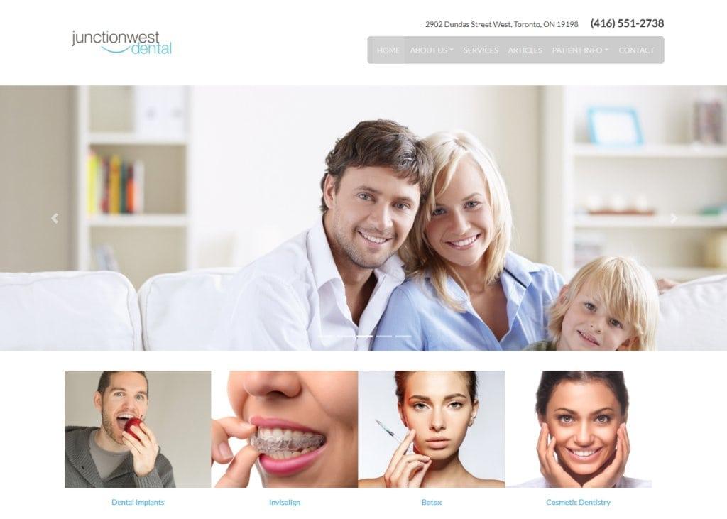 junctionwestdental.ca screenshot showing homepage of Junctionwest Dental - Toronto, ON website