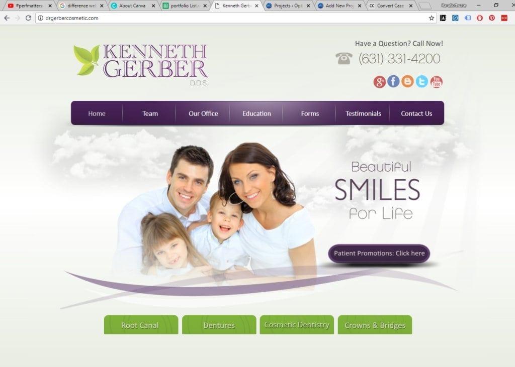 drgerbercosmetic.com - screenshot showing homepage of Kenneth Gerber, DDS Dentist - Port Jefferson Station, NY website