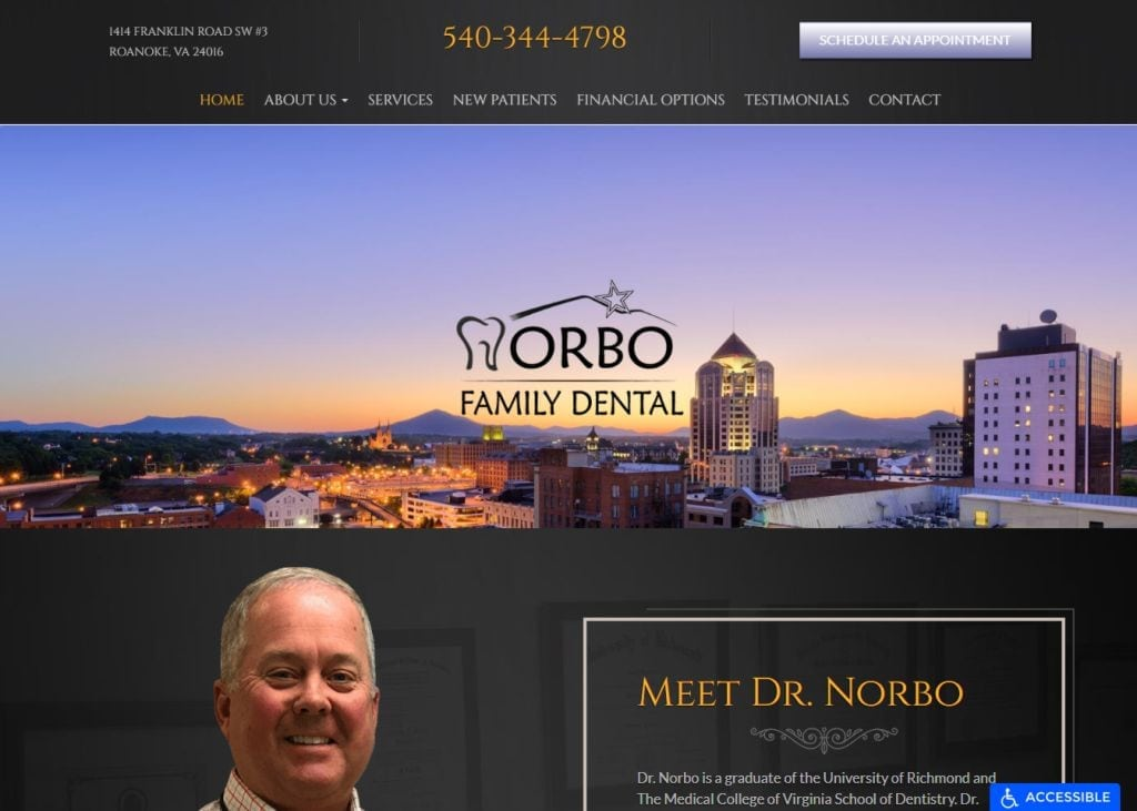 randynorbodds.com screenshot - Showing homepage of Randy Norbo DDS Premier Roanoke Dentist website