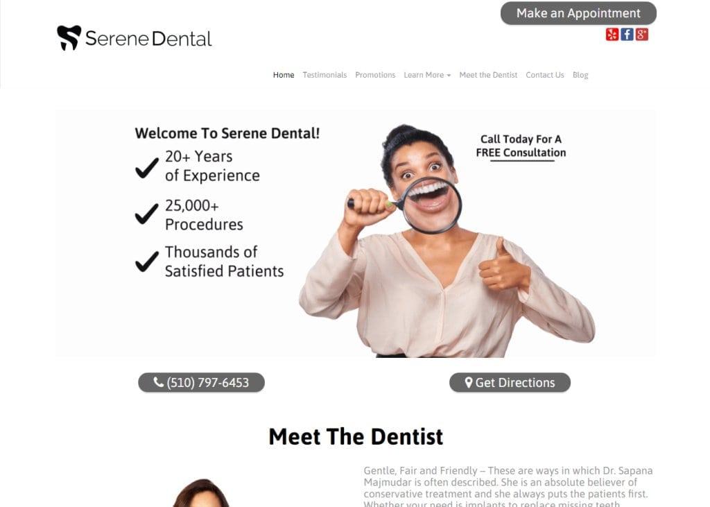 serenedental.com screenshot showing home page of Serene Dental, Dr. Sapana Majmudar -Fremont, CAwebsite