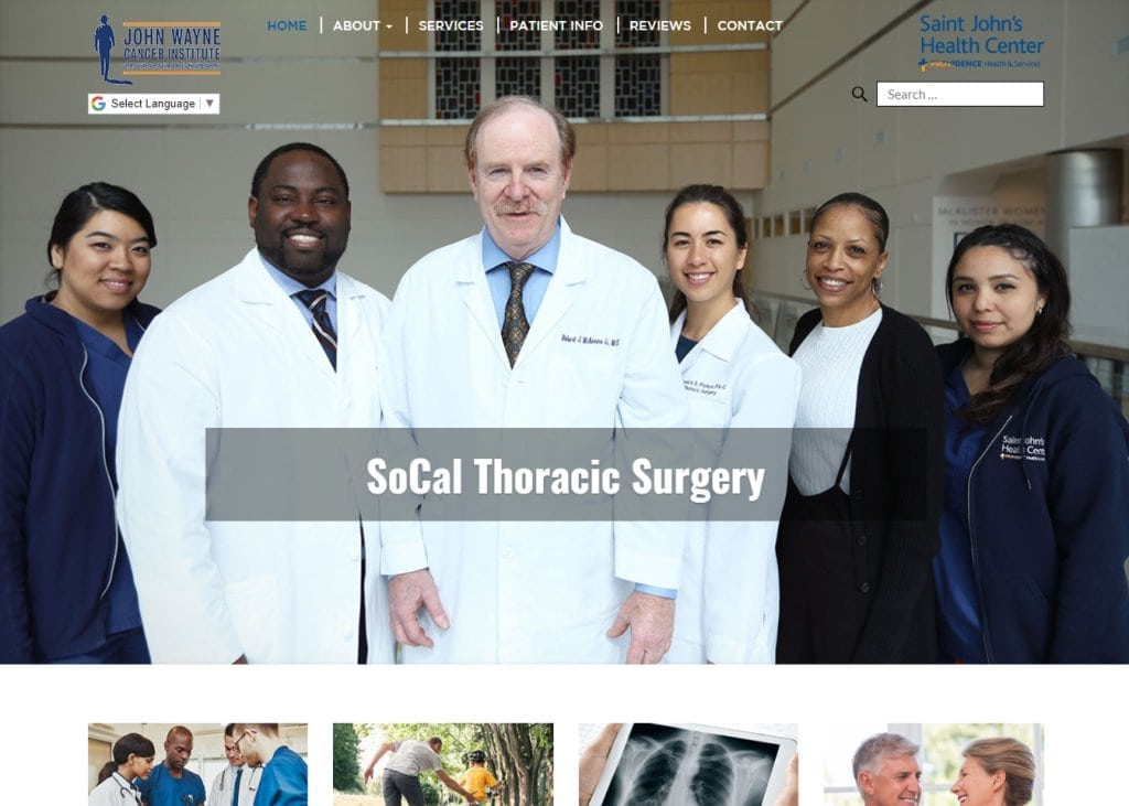 Socalthoracicsurgery.com screenshot showing homepage of SoCal Thoracic Surgery - John Wayne Cancer Institute and St John's Health Center -  Santa Monica, CA