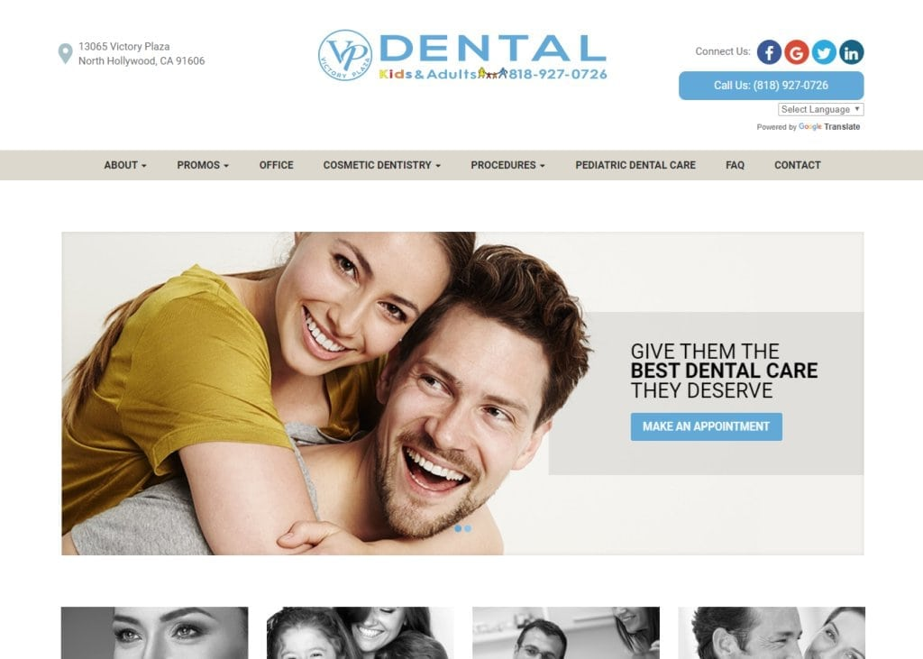 victoryplazadental.com screenshot showing home page of Victory Plaza Dental Group website