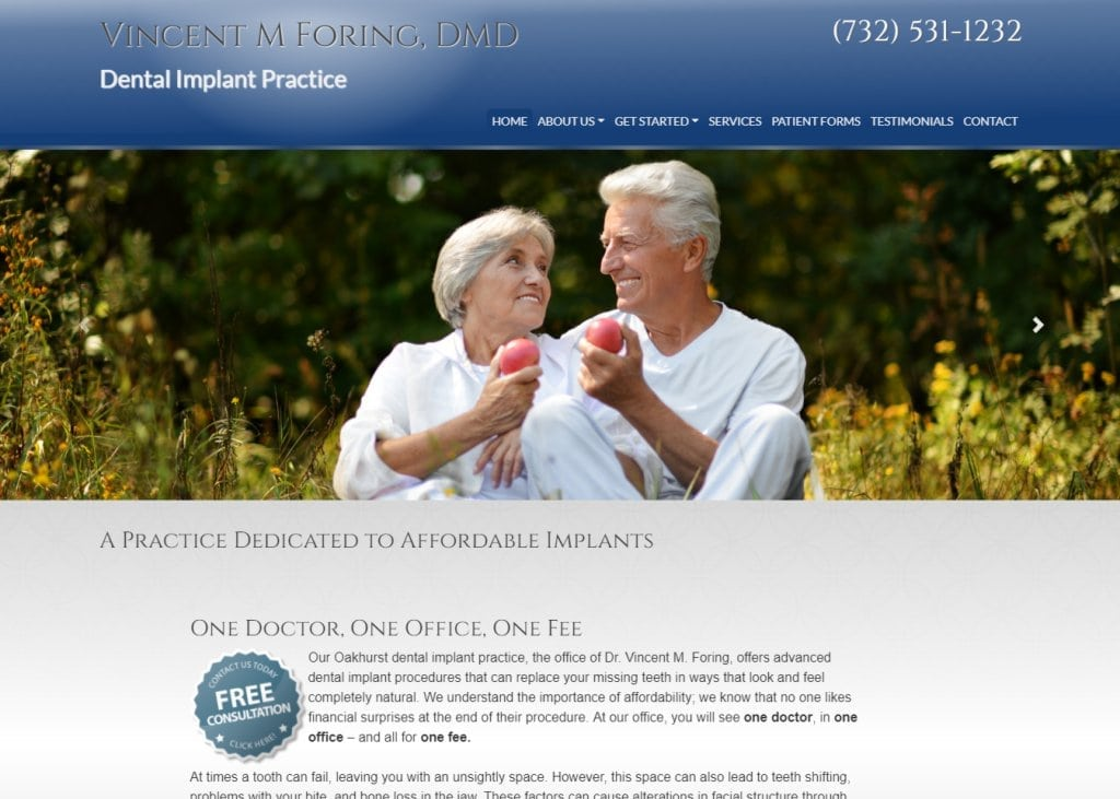 dentalimplantsmonmouthcounty.com screenshot showing home page of Vincent M. Foring, DMD Dental Implants Monmouth County -Oakhurst, NJ website