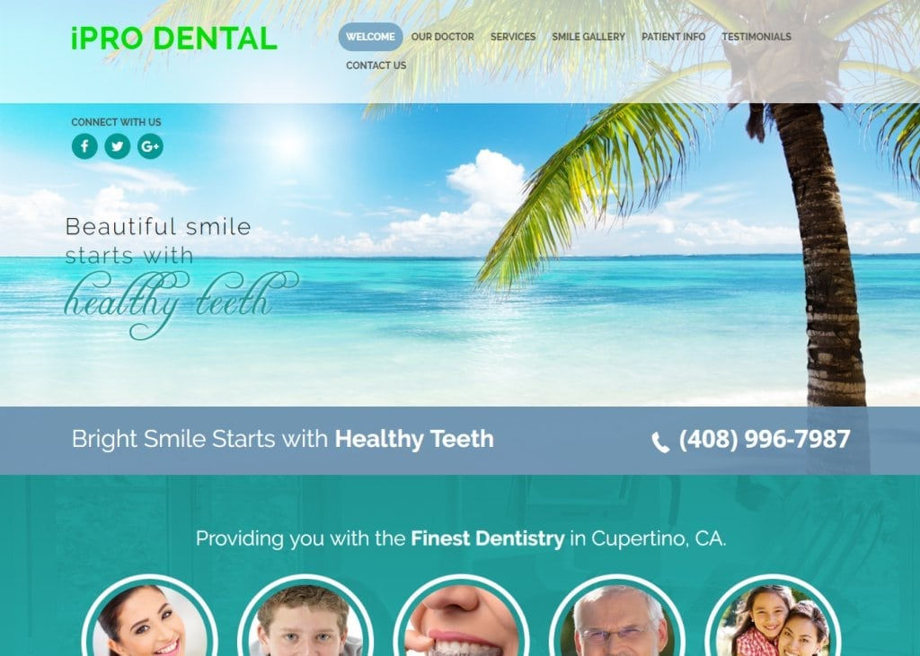 Screenshot of homepage showing iPro Dental - Cupertino, CA website