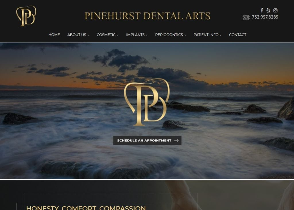 pinehurstdentalarts.com screenshot - Showing homepage of Pinehurst Dental Arts - Middletown, NJ website