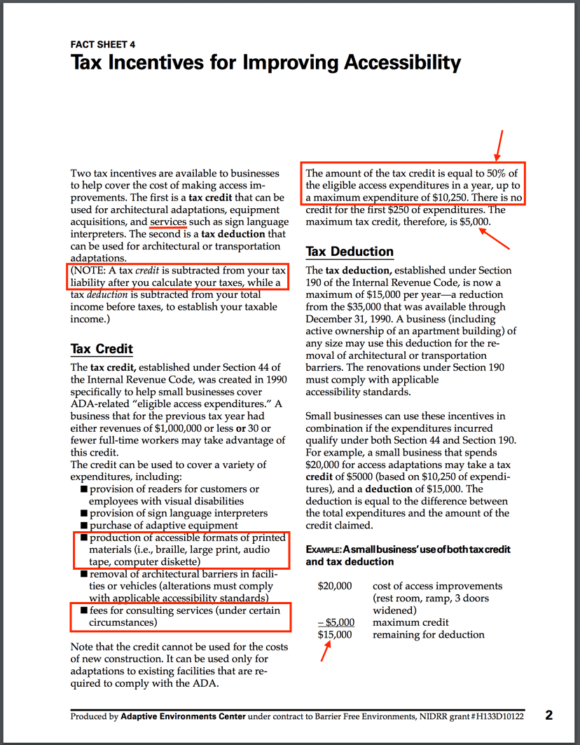 Screenshot of an article that explains how you can claim a tax credit for 50% of your new website cost if you do it to become ADA compliant.