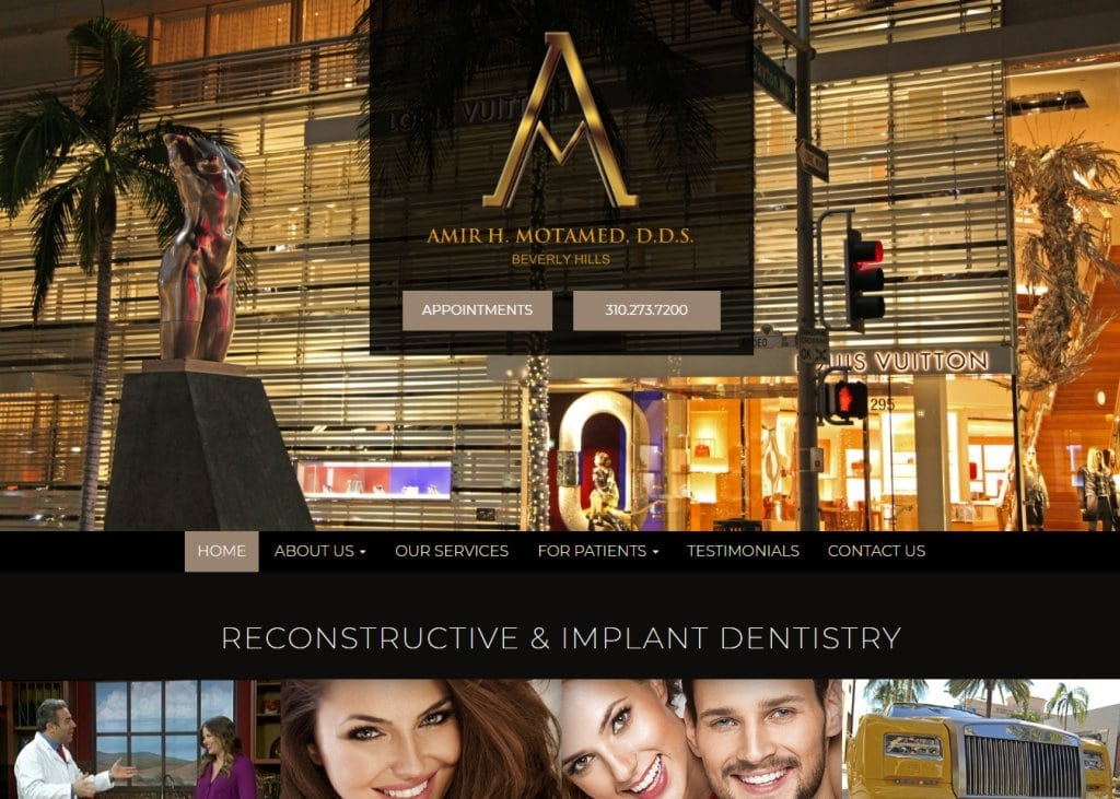 Screenshot showing homepage of Amir H. Motamed, D.d.s. Reconstructive & Implant Dentistry website