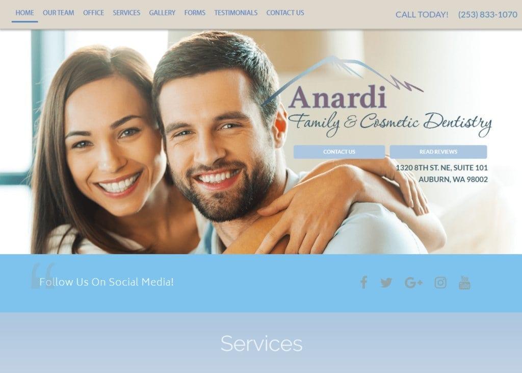 dranardi.com - Screenshot showing homepage of Anardi Family & Cosmetic Dentistry - Auburn, WA website