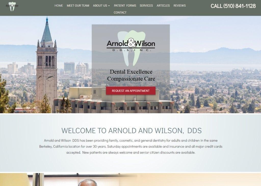 Drhappytooth.com screenshot - Showing homepage of Arnold And Wilson, DDS - Berkeley Dentist website
