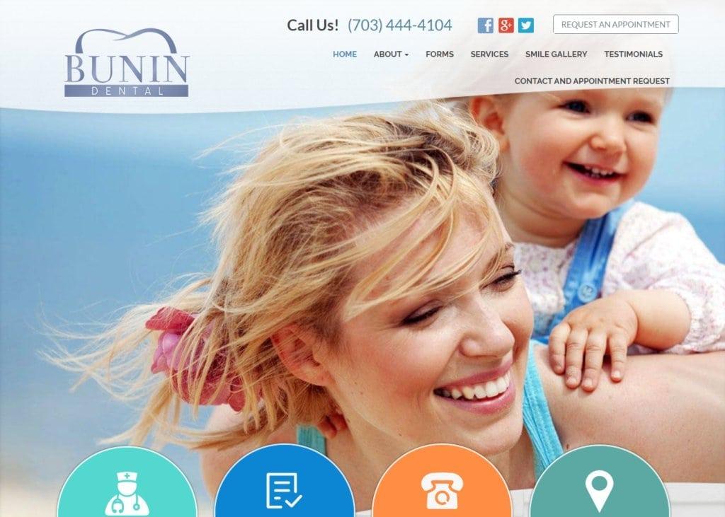 Bunindental.com - Screenshot showing homepage of Bunin Dental website
