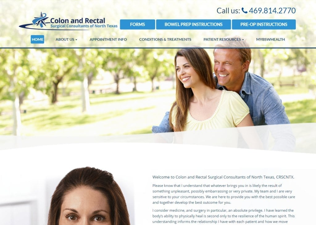 Crscntx.com screenshot - Showing homepage of Colon and Rectal Surgical Consultants of North Texas website