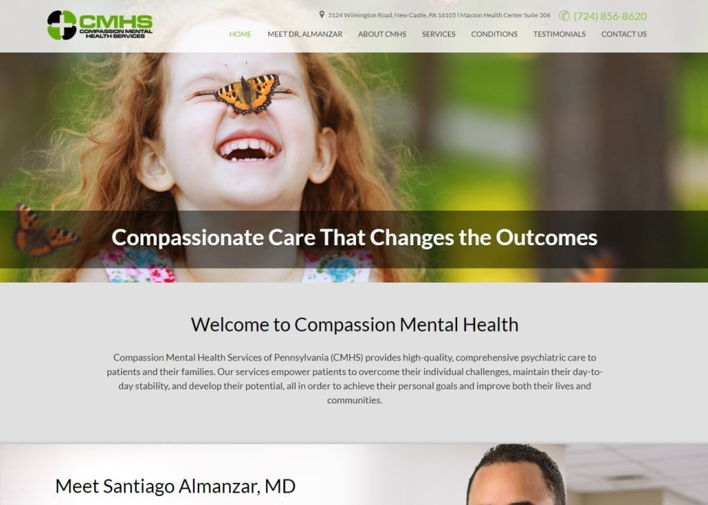 Compassionmhs.com - Screenshot showing homepage of Compassion Mental Health, Santiago Almanzar, MD website
