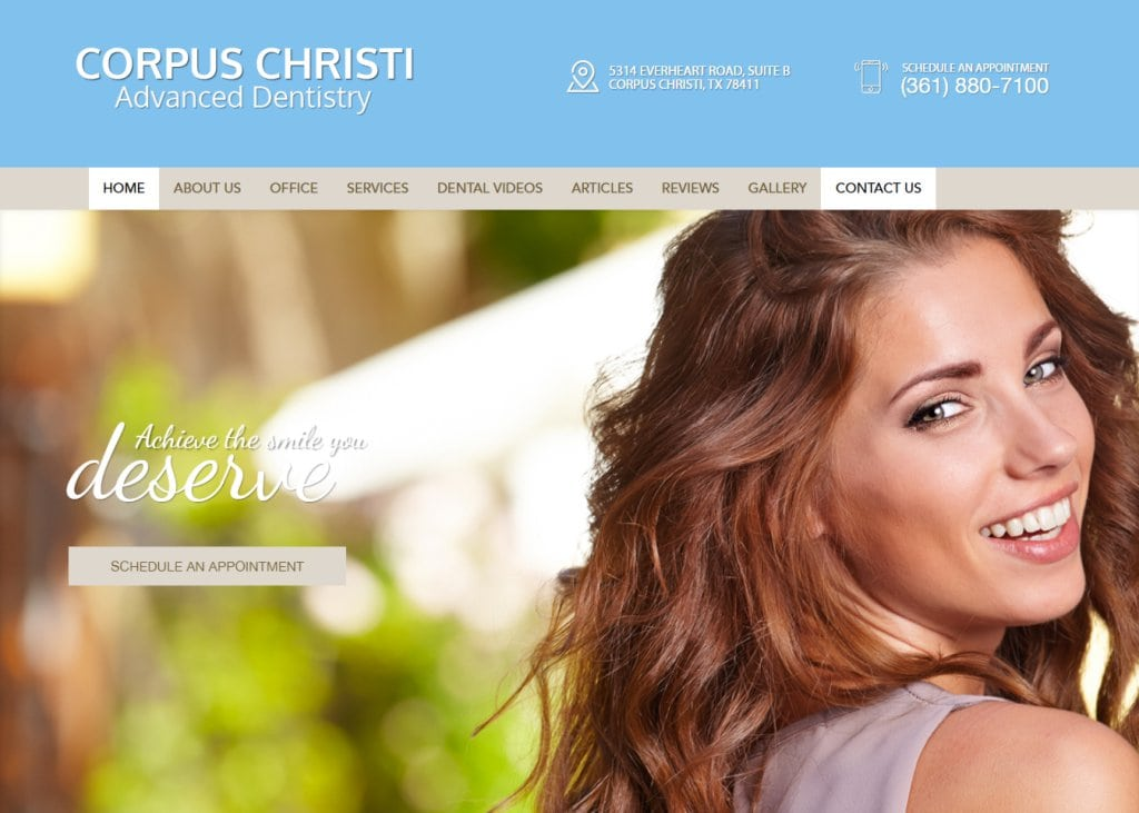 corpuschristiadvanceddentistry.com screenshot showing homepage of Corpus Christi Advanced Dentistry - Corpus Christi, TX website