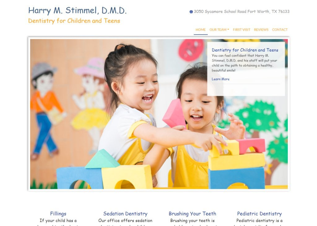 drstimmel.com screenshot - Showing homepage of Dentistry for Children and Teens - Fort Worth, TX - Harry M. Stimmel, DMD website