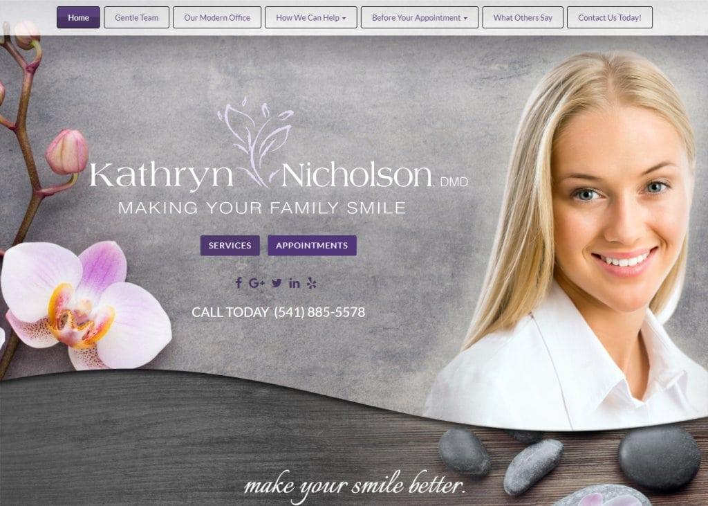 Nicholsondental.com - Screenshot showing homepage of Dr. Kathryn Nicholson Dental website