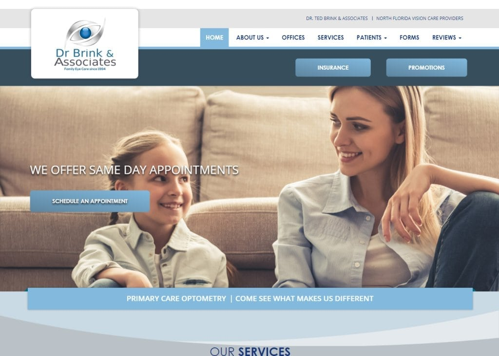 drbrink.com screenshot showing homepage of Dr. Ted Brink & Associates - North Florida Vision Care Providers website