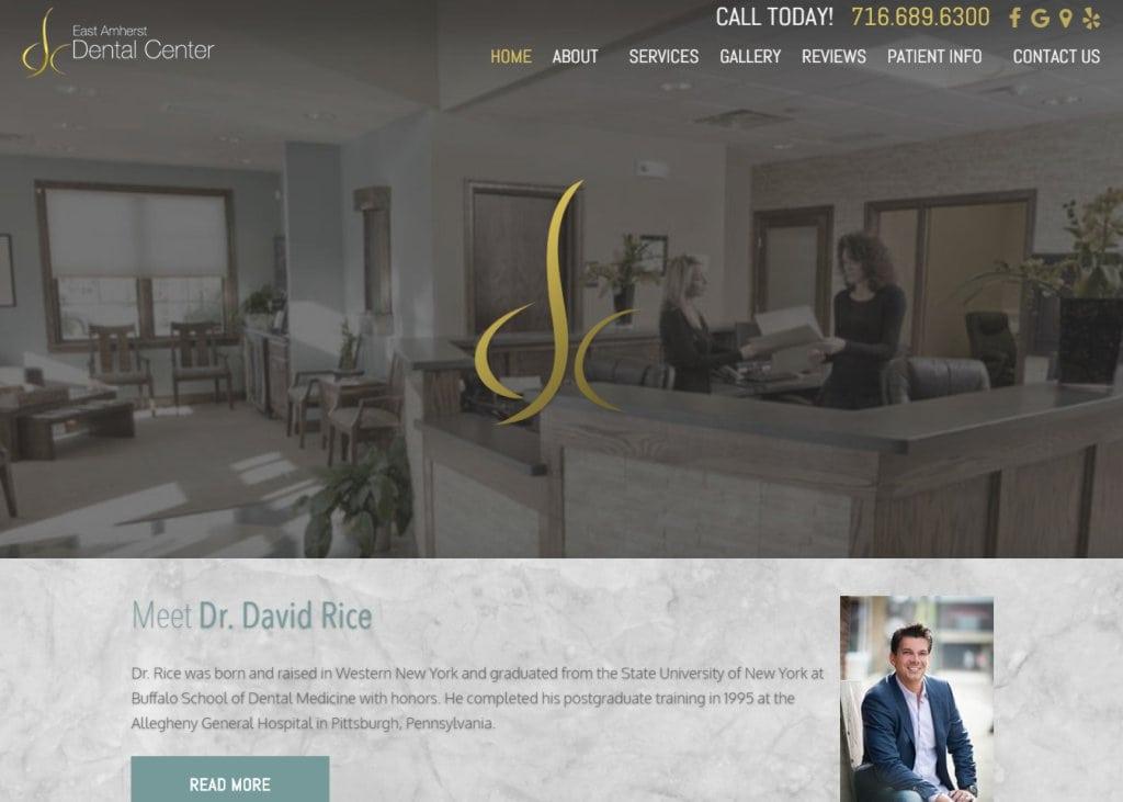 eastamherstdentalcenter.com screenshot - Showing homepage of East Amherst Dental Center - East Amherst, NY website