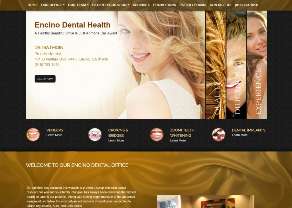 Encinodentalhealth.com screenshot showing homepage of Encino Dental Health - Dr. Iraj Moin - Encino, CA website