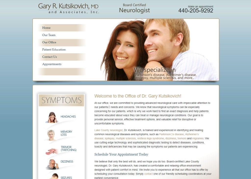 Lakecountyneurologist.com - Screenshot showing homepage of Gary R. Kutsikovich MD and Associates, Inc - Neurologist in Lake County and Mentor website