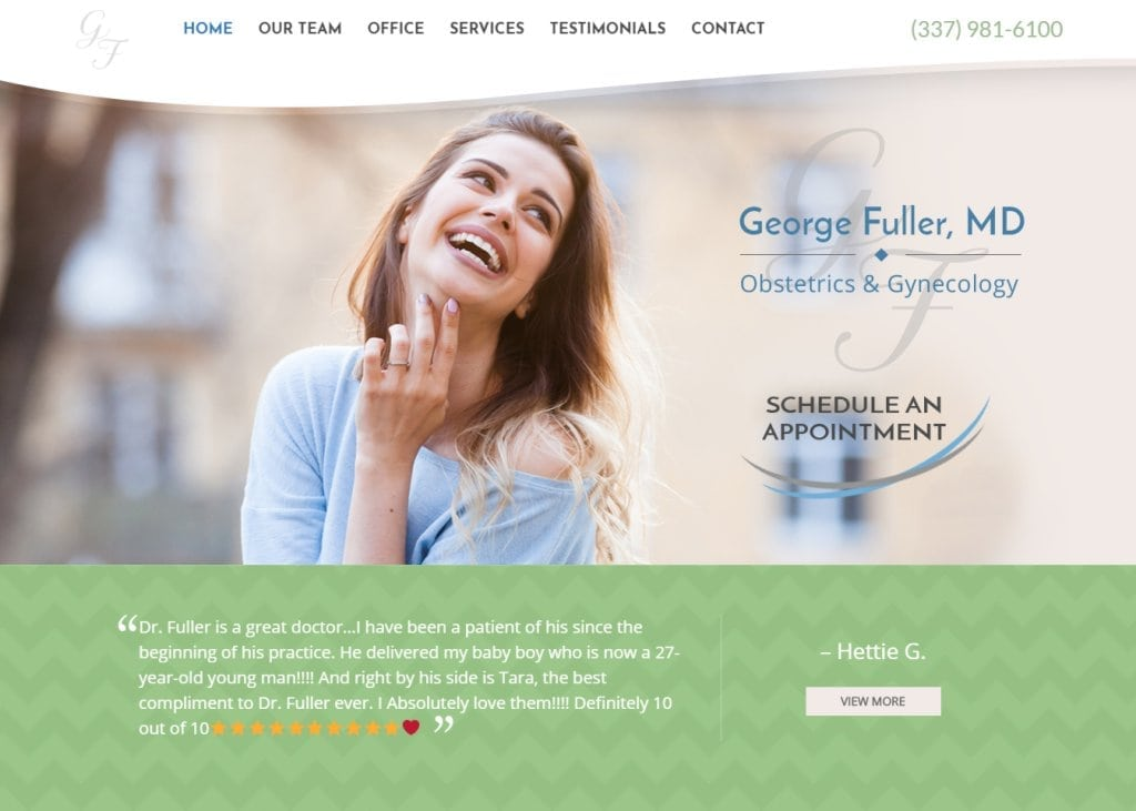 georgefullermd.com screenshot - Showing homepage of George Fuller, MD - Hamilton Medical Group - Lafayette OBGYN website