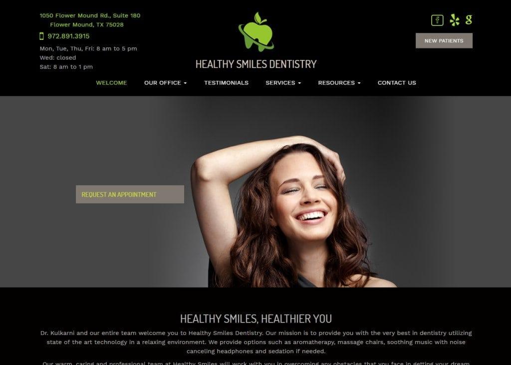 healthysmilesdentistry.net screenshot showing homepage of Healthy Smiles Dentistry, Dr.Varsha Kulkarni, DDS -Flower Mound, TX website