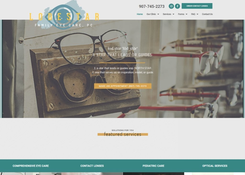 Lodestareye.com - Screenshot showing homepage of Lodestar Family Eye Care website