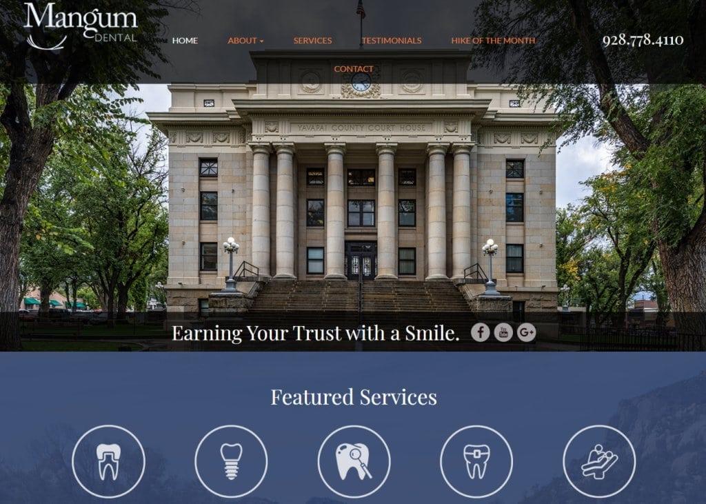 mangumdental.com screenshot showing homepage of Mangum Dental - Dr. Brett Mangum DDS,Your Prescott Dentists website