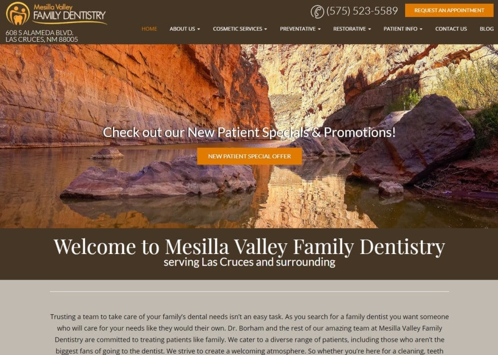 Mesillavalleydentist.com screenshot showing homepage of Mesilla Valley Family Dentistry, Dr. Borham and Dr. Oushy, website